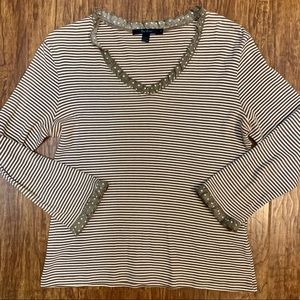 Boden striped v neck top with ruffle trim